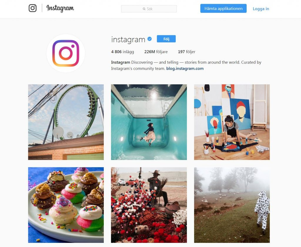 instagram startsidan i Sverige