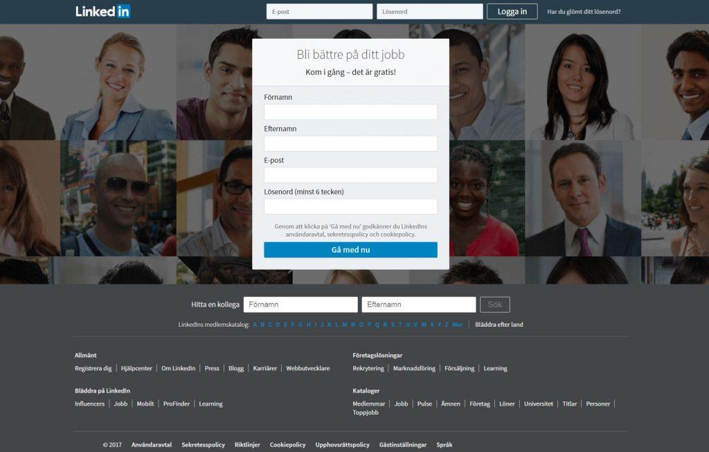 LinkedIn startsidan i Sverige